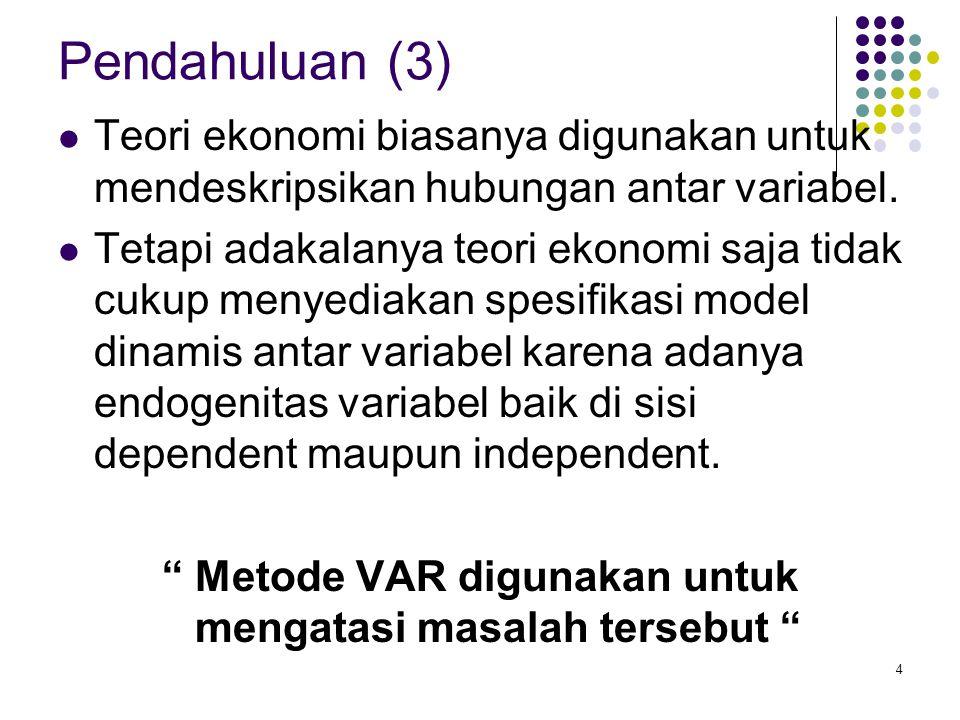 Metode VAR digunakan untuk mengatasi masalah tersebut