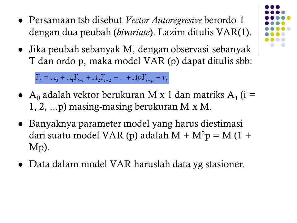Persamaan tsb disebut Vector Autoregresive berordo 1 dengan dua peubah (bivariate). Lazim ditulis VAR(1).