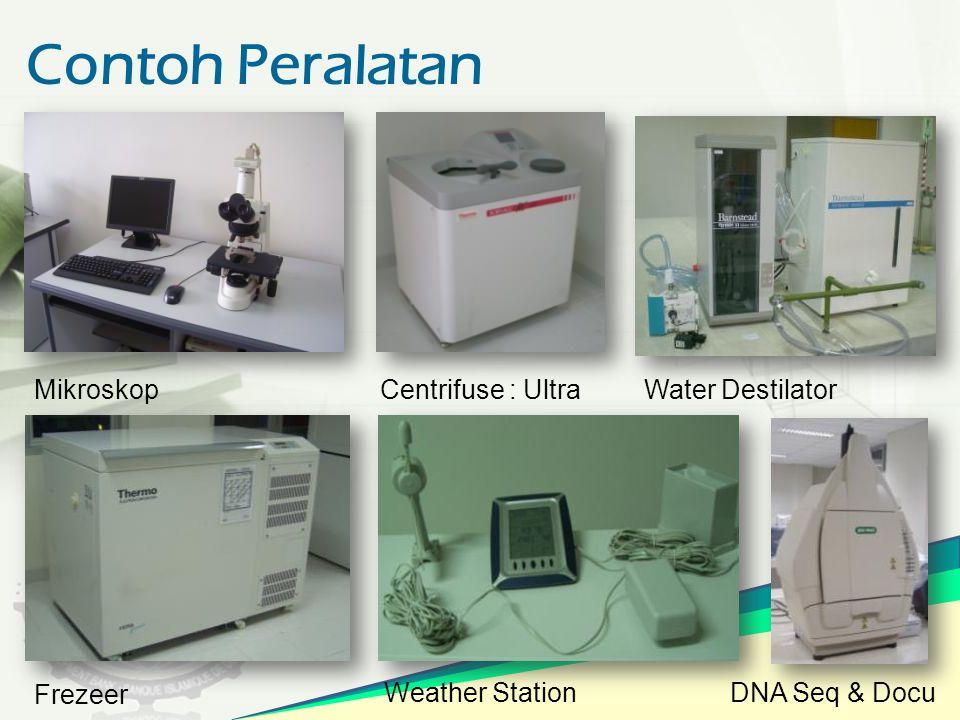 Contoh Peralatan Mikroskop Centrifuse : Ultra Water Destilator Frezeer