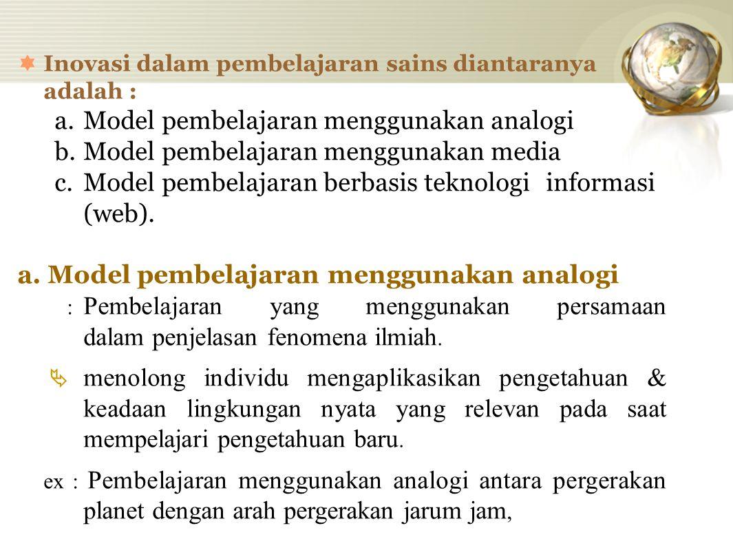 a. Model pembelajaran menggunakan analogi
