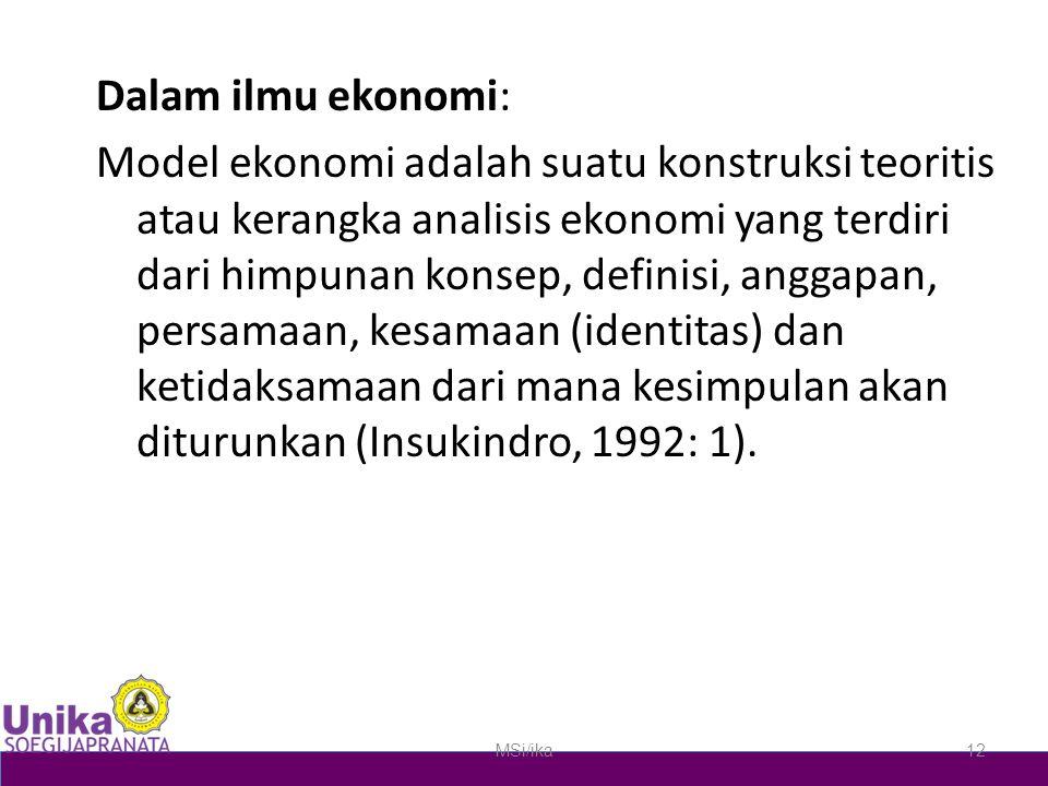 Dalam ilmu ekonomi: