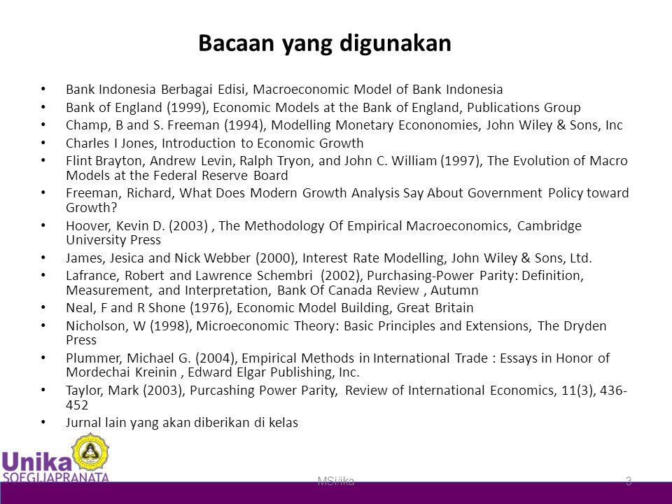 Bacaan yang digunakan Bank Indonesia Berbagai Edisi, Macroeconomic Model of Bank Indonesia.