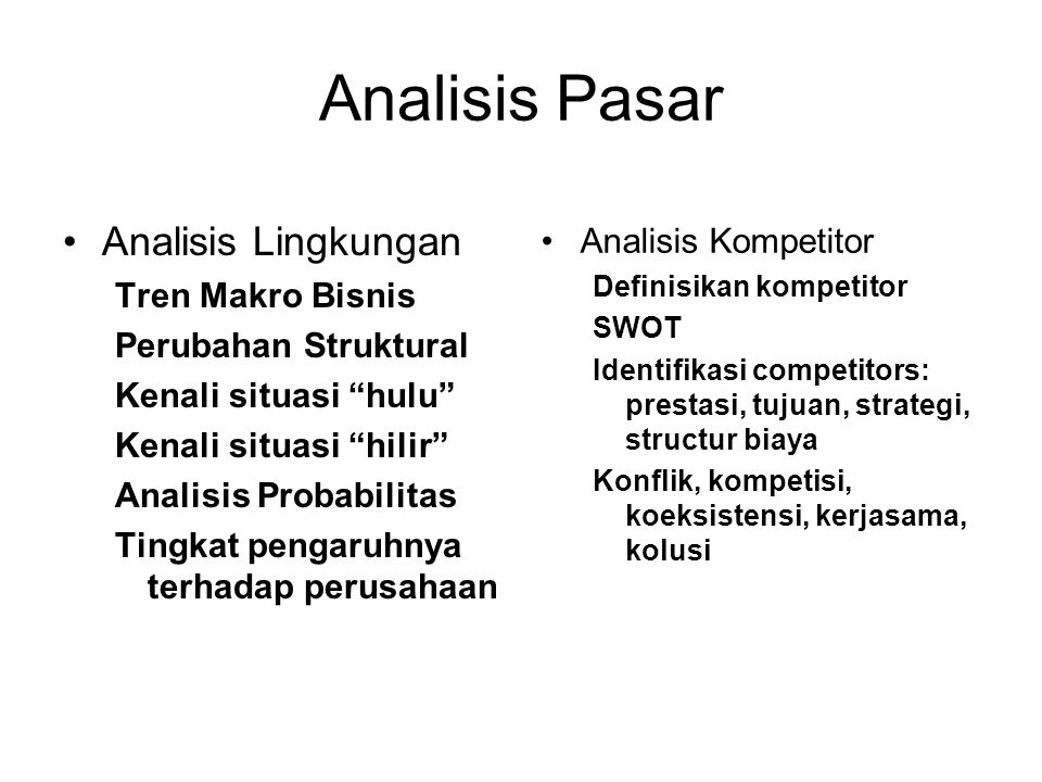 Analisis Pasar Analisis Lingkungan Analisis Kompetitor