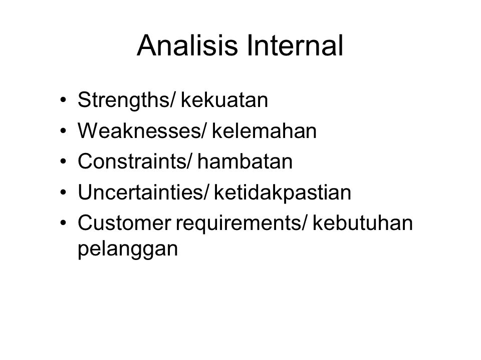 Analisis Internal Strengths/ kekuatan Weaknesses/ kelemahan