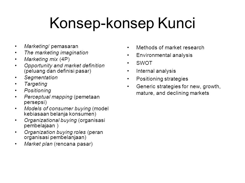 Konsep-konsep Kunci Marketing/ pemasaran The marketing imagination