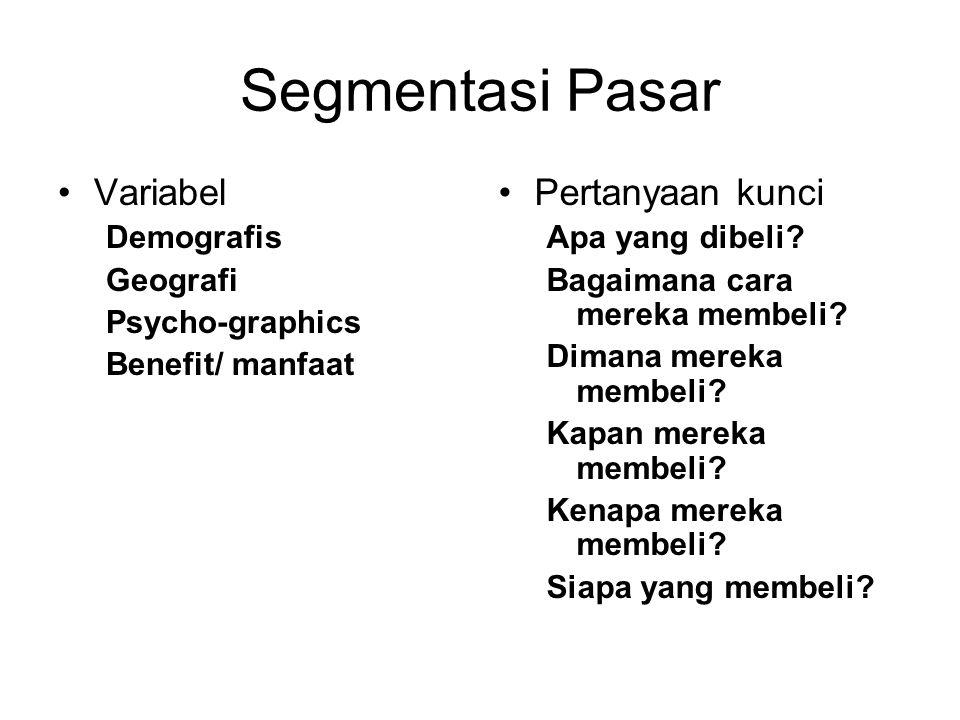 Segmentasi Pasar Variabel Pertanyaan kunci Demografis Geografi