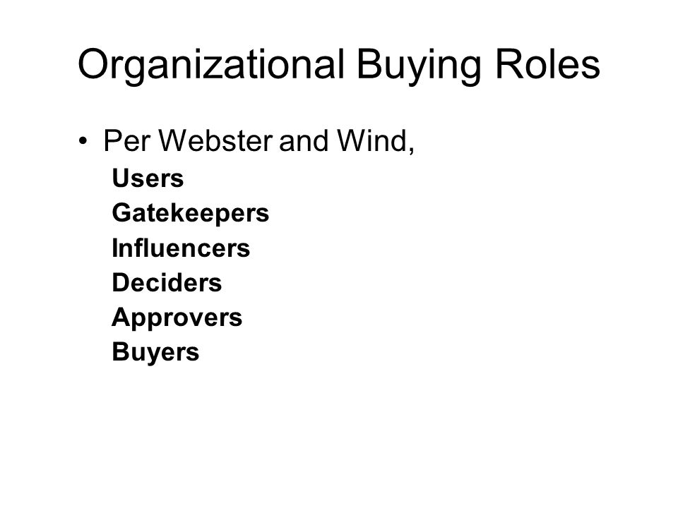 Organizational Buying Roles