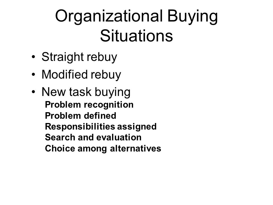 Organizational Buying Situations