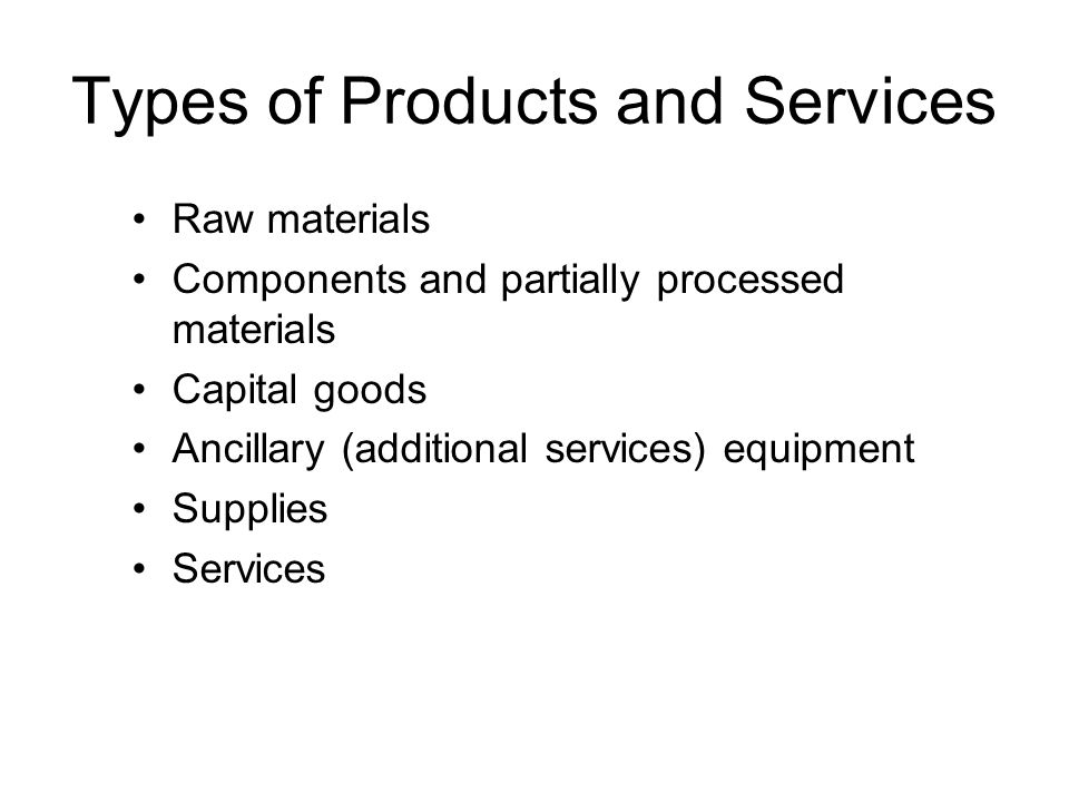 Types of Products and Services
