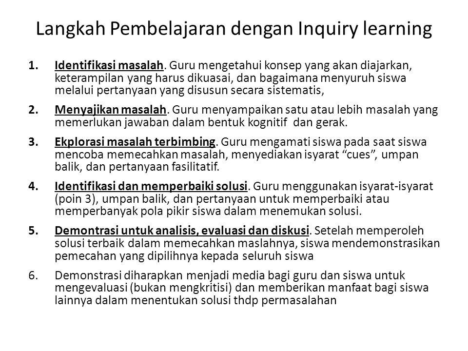 Langkah Pembelajaran dengan Inquiry learning