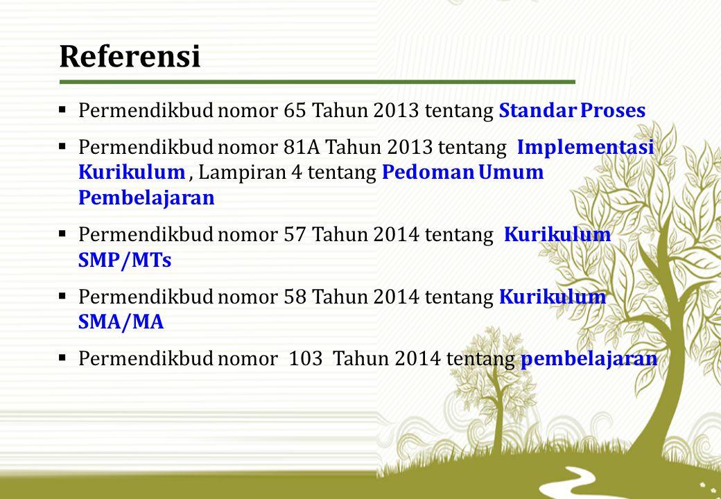 Referensi Permendikbud nomor 65 Tahun 2013 tentang Standar Proses