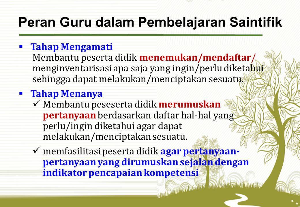 Peran Guru dalam Pembelajaran Saintifik