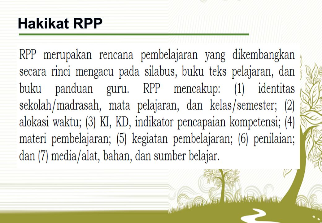 Hakikat RPP RPP, dalam bentuk langkah-langkah