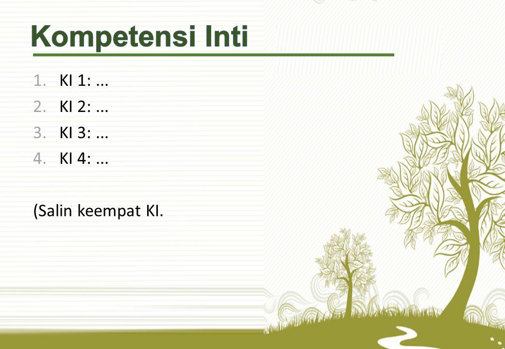Kompetensi Inti KI 1: ... KI 2: ... KI 3: ... KI 4: ...