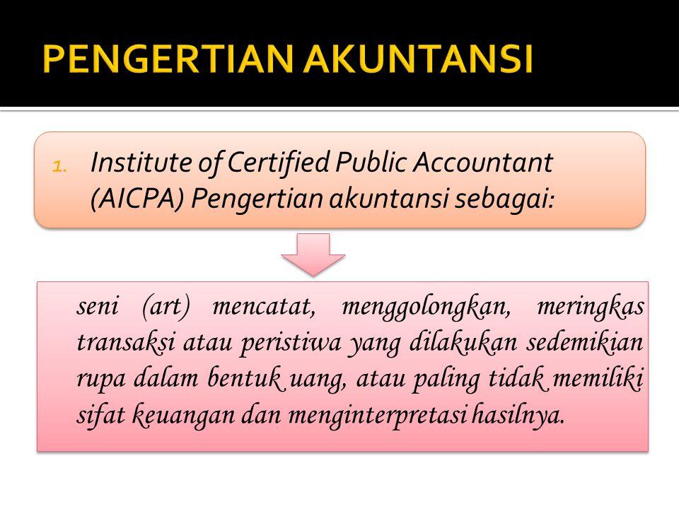 PENGERTIAN AKUNTANSI Institute of Certified Public Accountant (AICPA) Pengertian akuntansi sebagai: