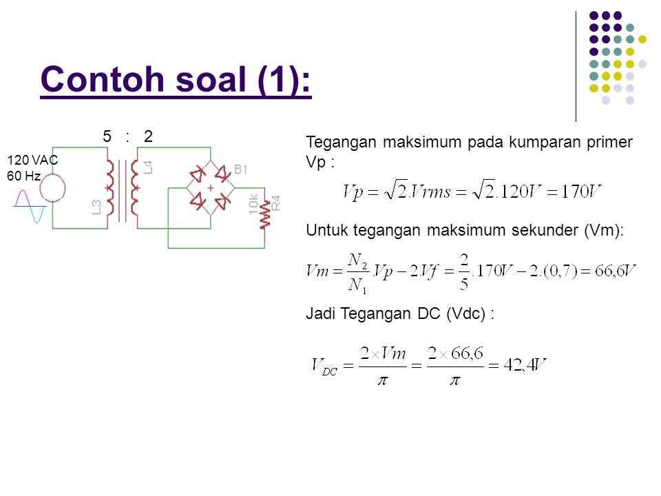 Contoh soal (1): 5 : 2 Tegangan maksimum pada kumparan primer Vp :
