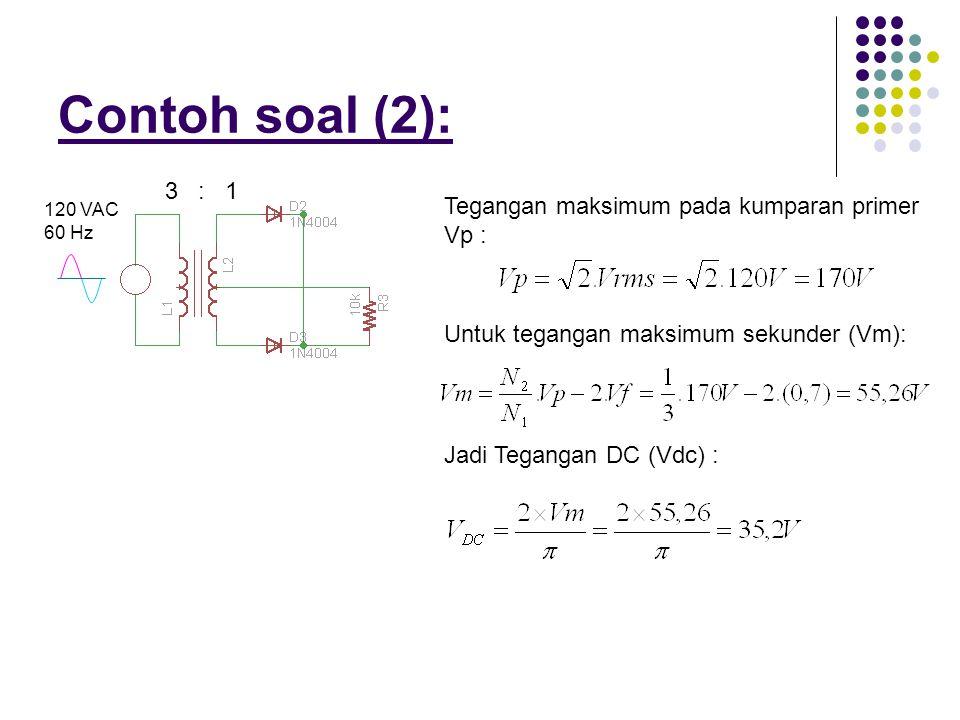 Contoh soal (2): 3 : 1 Tegangan maksimum pada kumparan primer Vp :