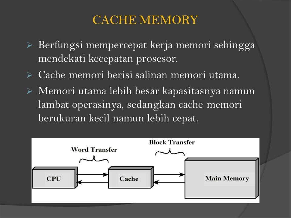 CACHE MEMORY Berfungsi mempercepat kerja memori sehingga mendekati kecepatan prosesor. Cache memori berisi salinan memori utama.