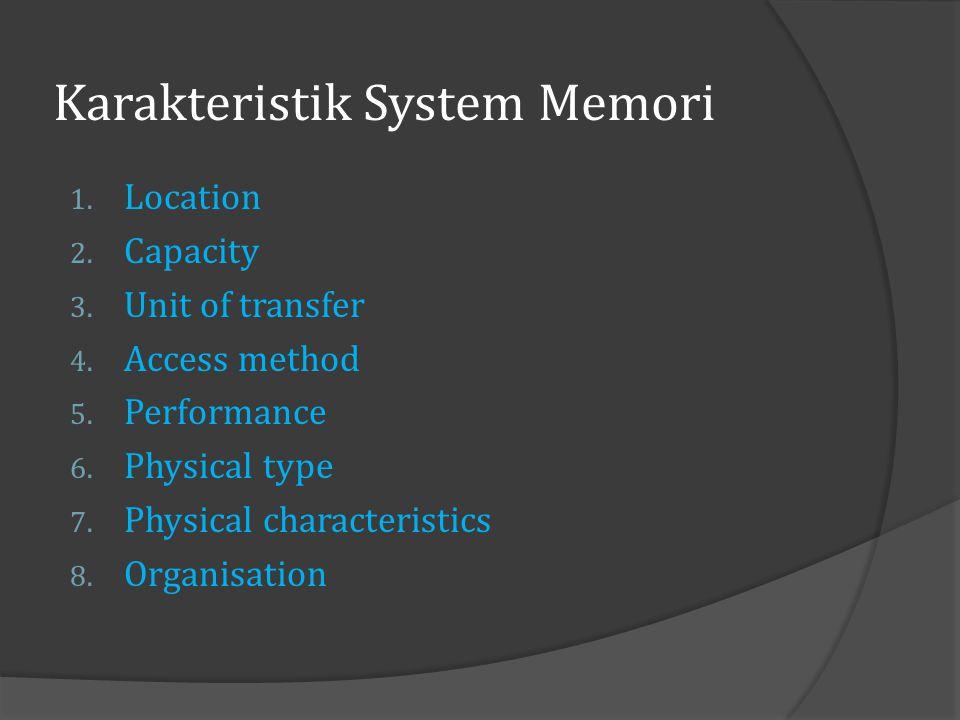 Karakteristik System Memori