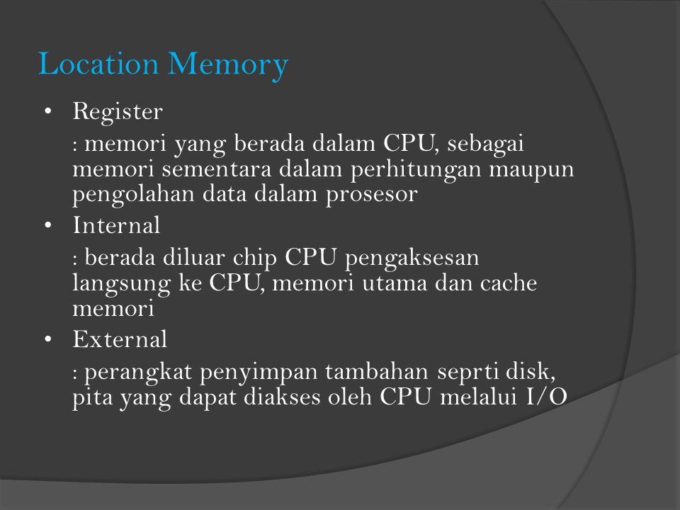 Location Memory Register