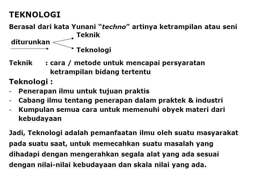 TEKNOLOGI Berasal dari kata Yunani techno artinya ketrampilan atau seni. Teknik. Teknologi. diturunkan.