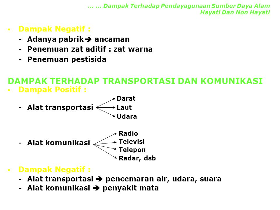 DAMPAK TERHADAP TRANSPORTASI DAN KOMUNIKASI