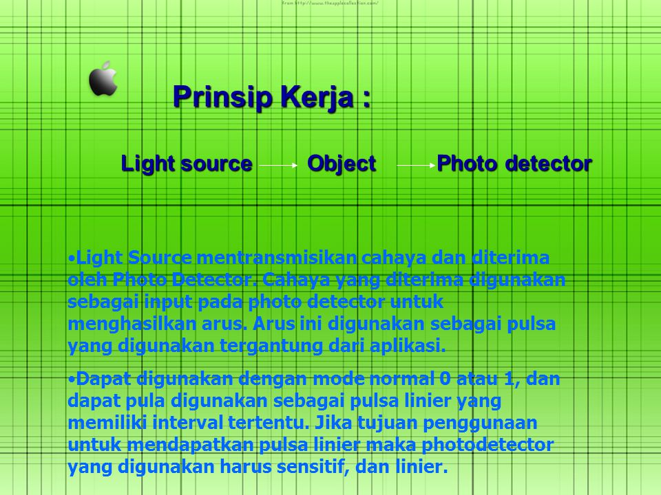 Prinsip Kerja : Light source Object Photo detector