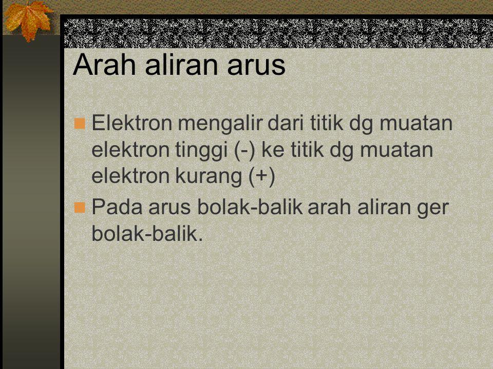 Arah aliran arus Elektron mengalir dari titik dg muatan elektron tinggi (-) ke titik dg muatan elektron kurang (+)