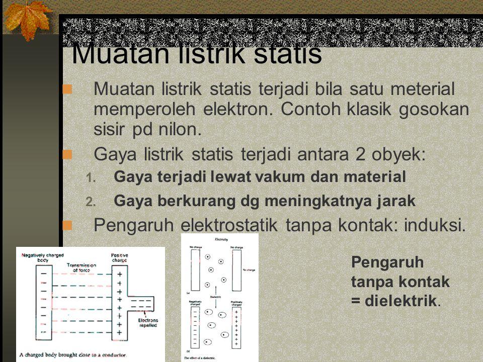 Muatan listrik statis Muatan listrik statis terjadi bila satu meterial memperoleh elektron. Contoh klasik gosokan sisir pd nilon.