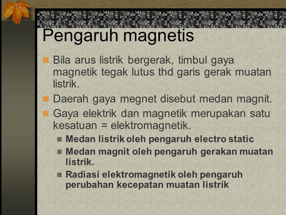 Pengaruh magnetis Bila arus listrik bergerak, timbul gaya magnetik tegak lutus thd garis gerak muatan listrik.