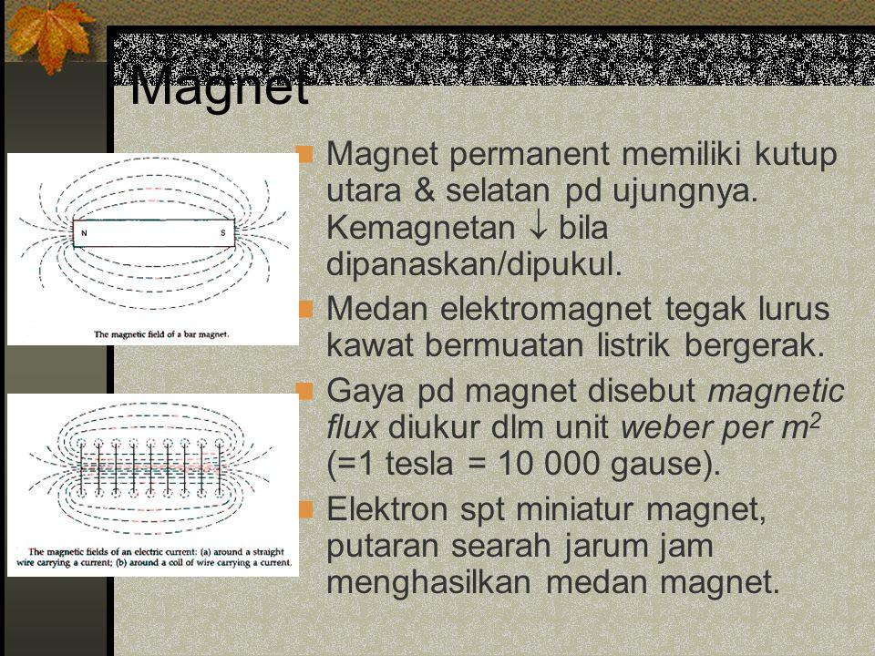 Magnet Magnet permanent memiliki kutup utara & selatan pd ujungnya. Kemagnetan  bila dipanaskan/dipukul.