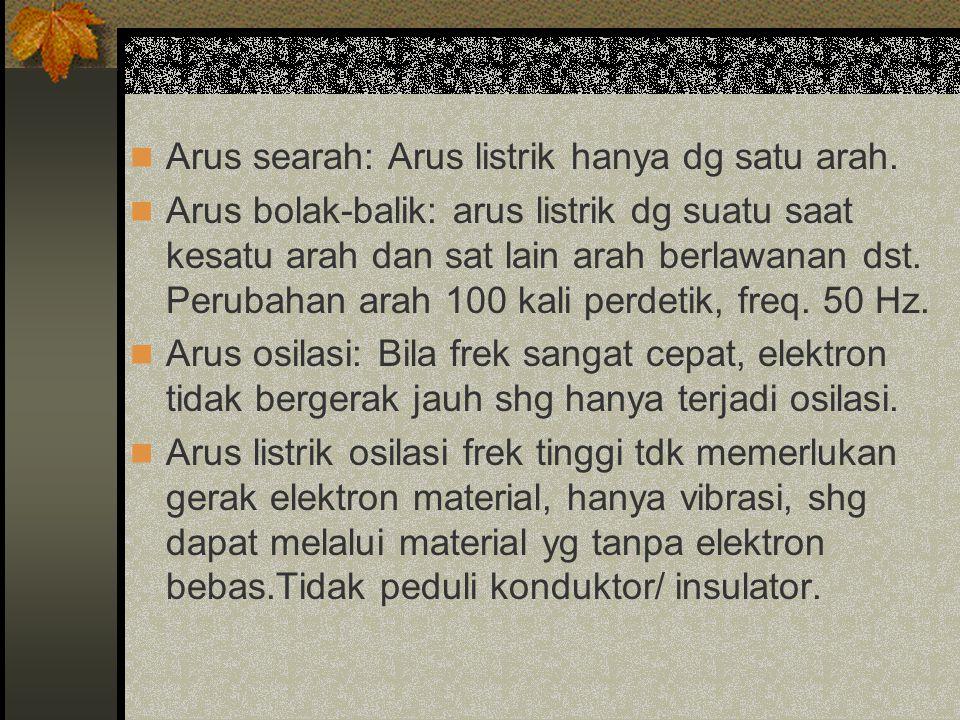 Arus searah: Arus listrik hanya dg satu arah.