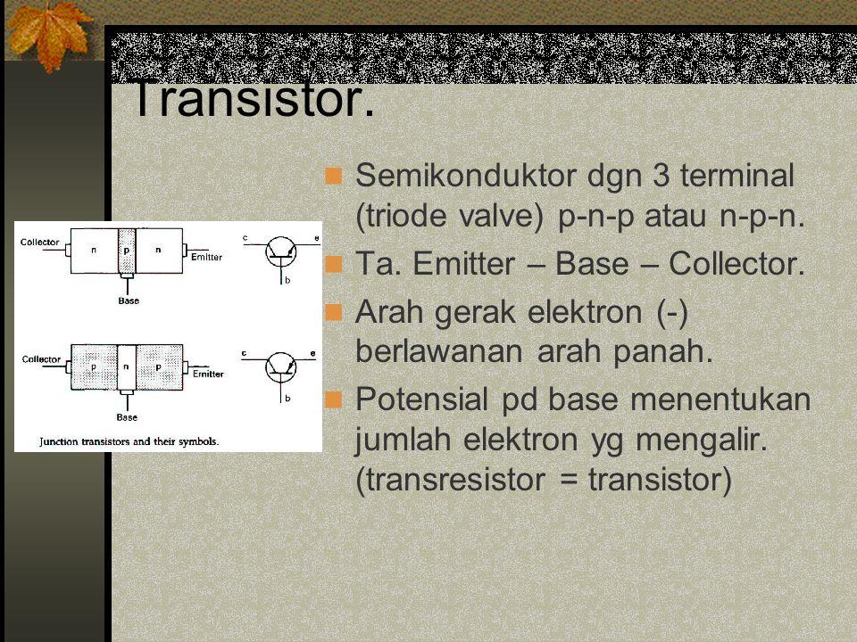 Transistor. Semikonduktor dgn 3 terminal (triode valve) p-n-p atau n-p-n. Ta. Emitter – Base – Collector.