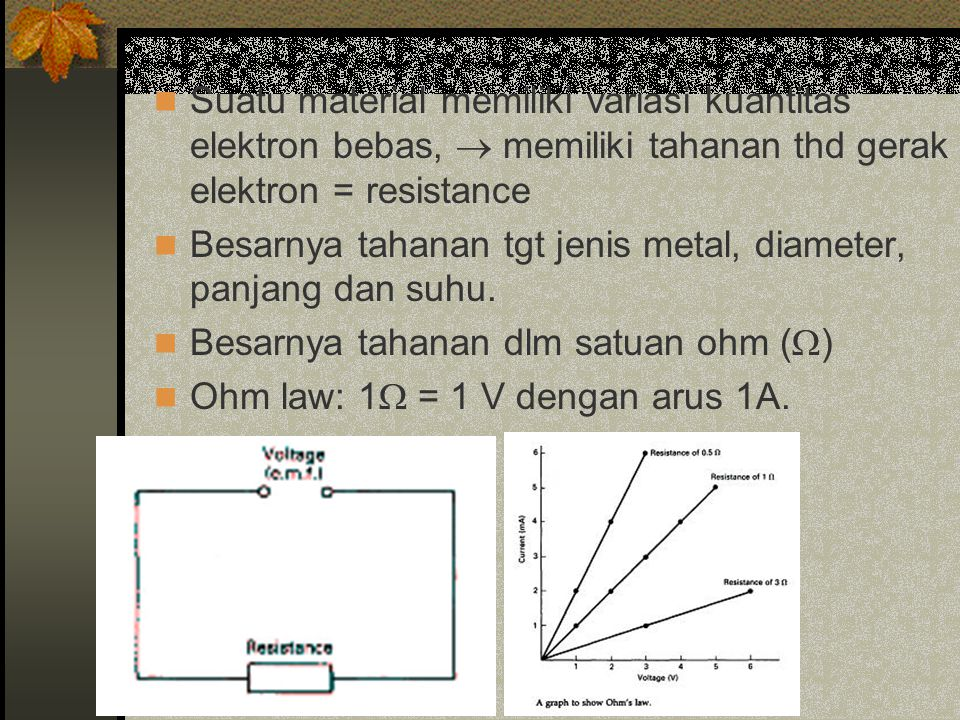 Suatu material memiliki variasi kuantitas elektron bebas,  memiliki tahanan thd gerak elektron = resistance