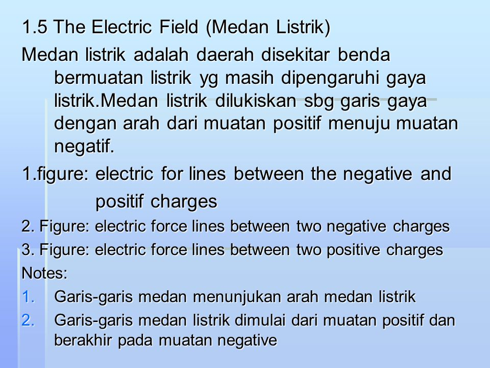 1.5 The Electric Field (Medan Listrik)