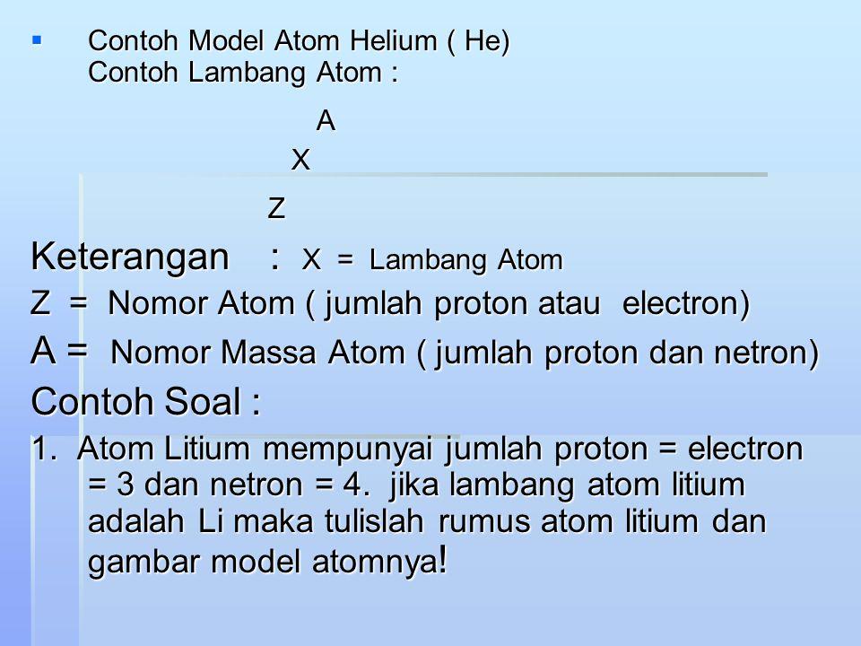 Keterangan : X = Lambang Atom