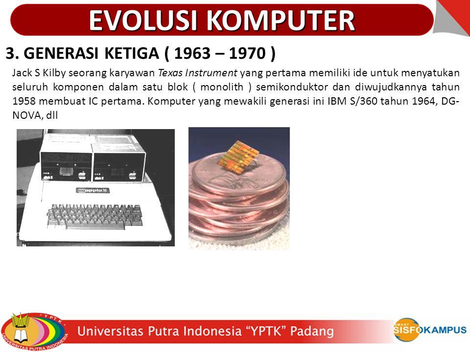 EVOLUSI KOMPUTER 3. GENERASI KETIGA ( 1963 – 1970 )