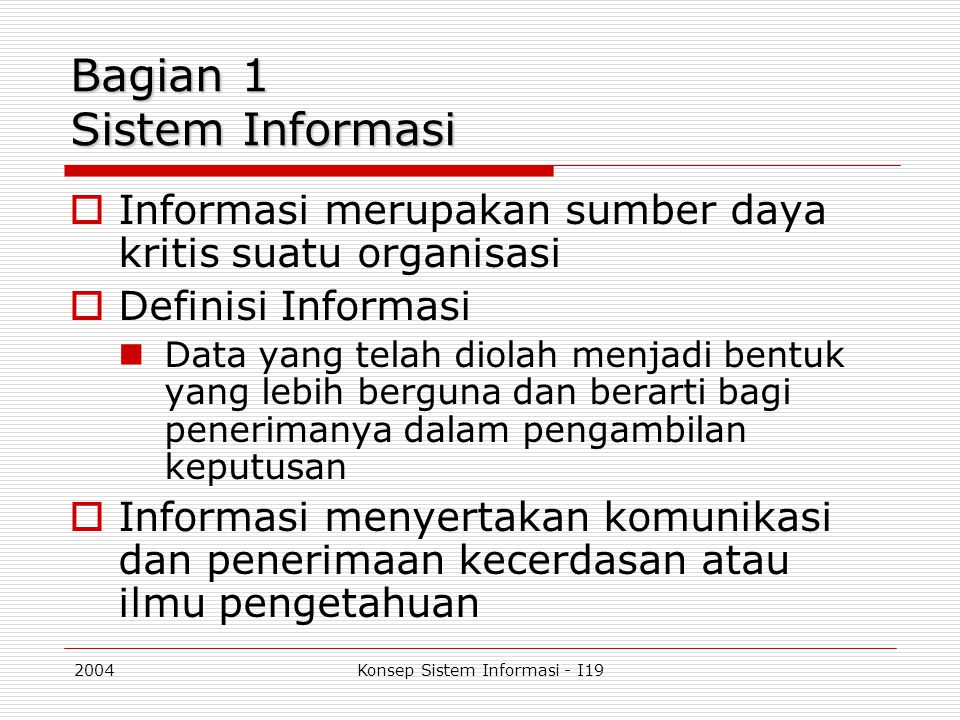 Bagian 1 Sistem Informasi