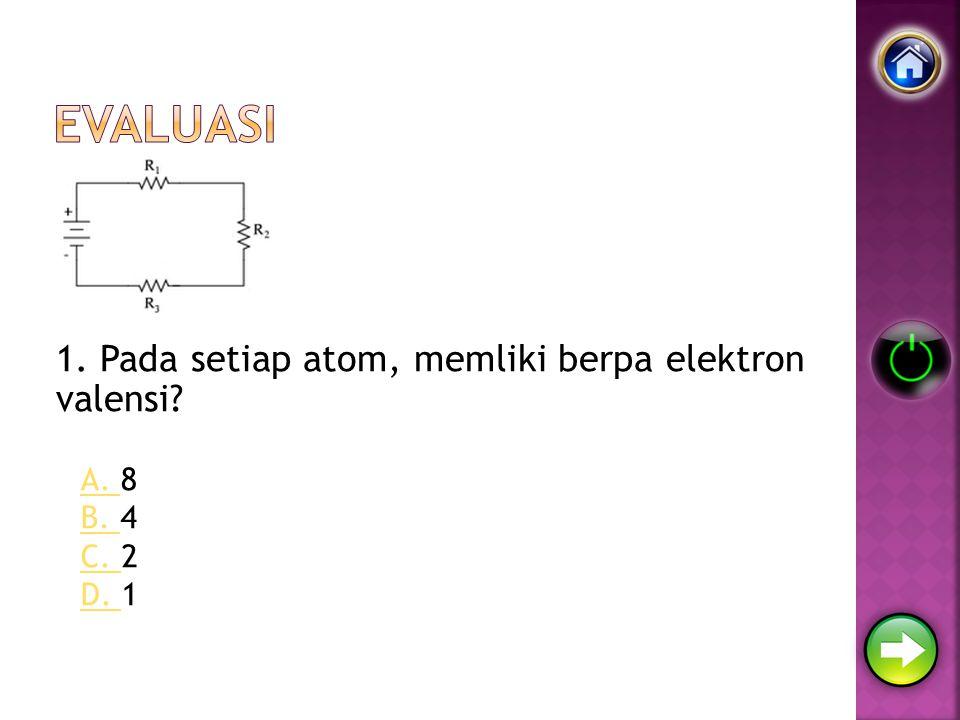 Evaluasi 1. Pada setiap atom, memliki berpa elektron valensi A. 8