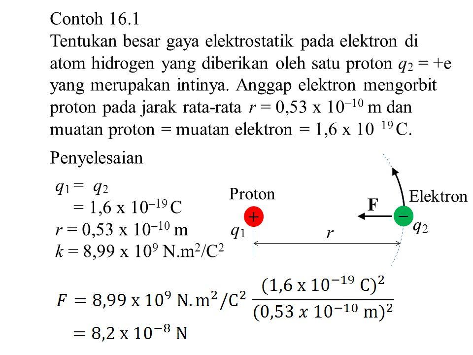 muatan proton = muatan elektron = 1,6 x 10–19 C. Penyelesaian
