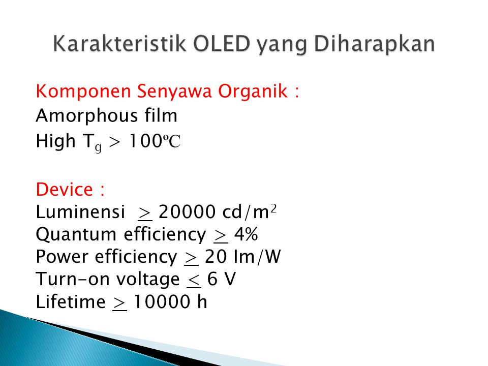 Karakteristik OLED yang Diharapkan