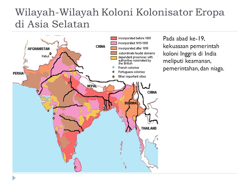 Wilayah-Wilayah Koloni Kolonisator Eropa di Asia Selatan