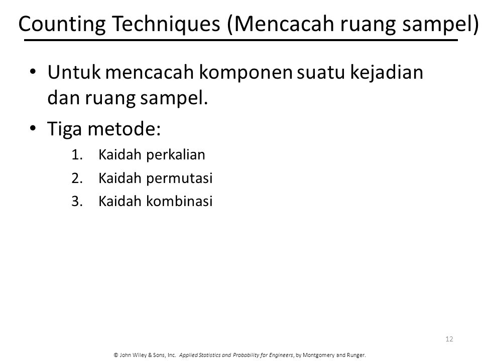 Counting Techniques (Mencacah ruang sampel)
