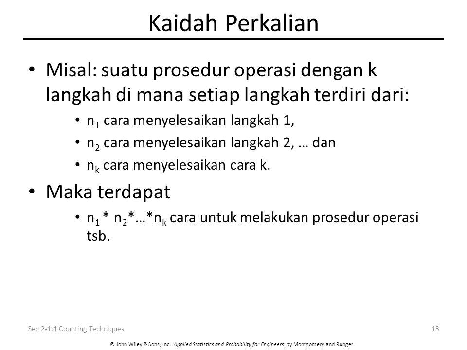 Kaidah Perkalian Misal: suatu prosedur operasi dengan k langkah di mana setiap langkah terdiri dari: