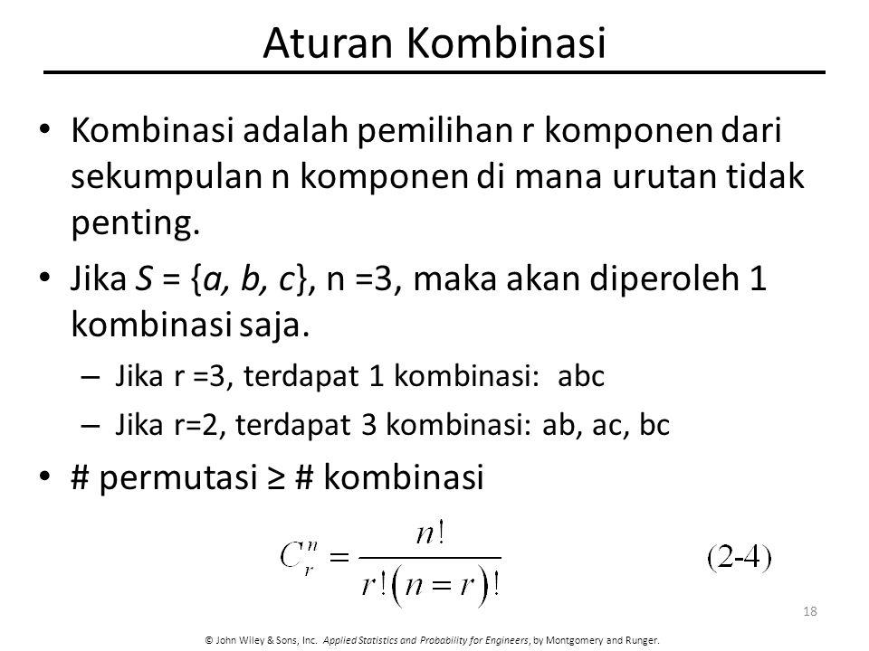 Aturan Kombinasi Kombinasi adalah pemilihan r komponen dari sekumpulan n komponen di mana urutan tidak penting.