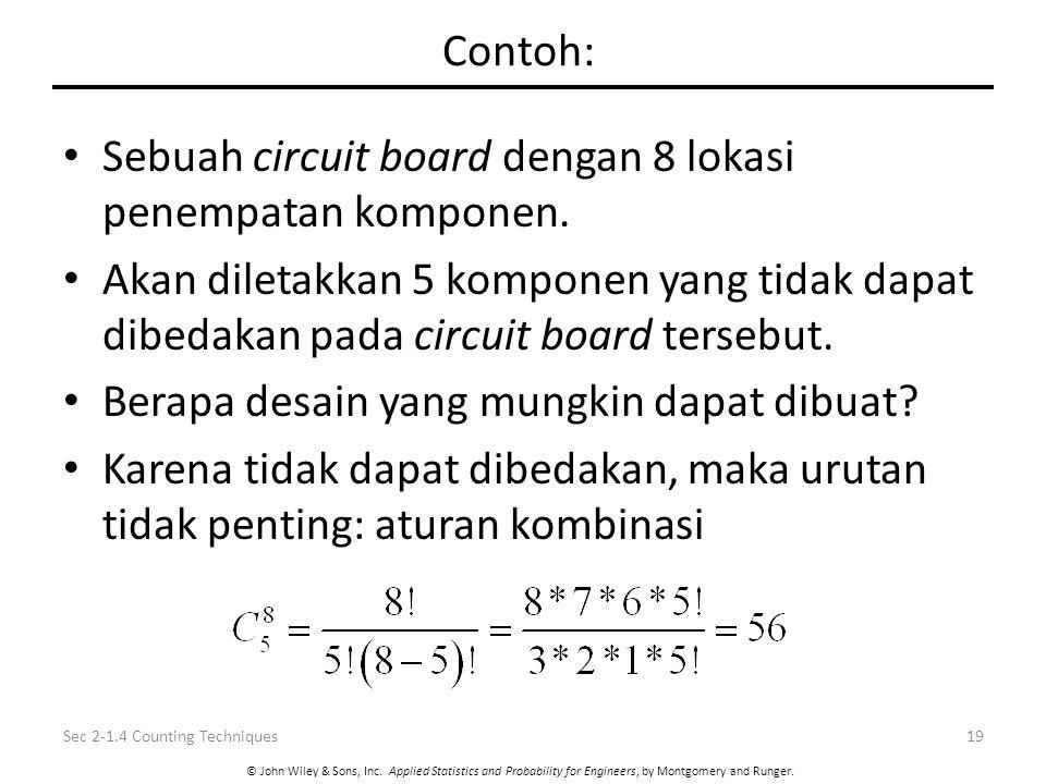 Sebuah circuit board dengan 8 lokasi penempatan komponen.