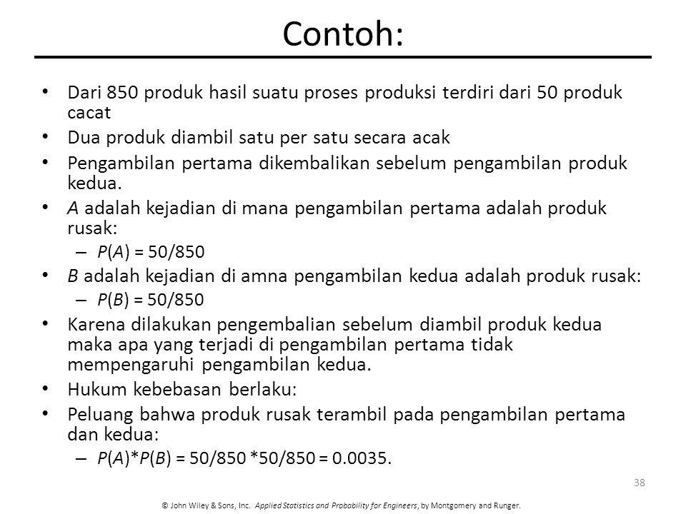 Contoh: Dari 850 produk hasil suatu proses produksi terdiri dari 50 produk cacat. Dua produk diambil satu per satu secara acak.