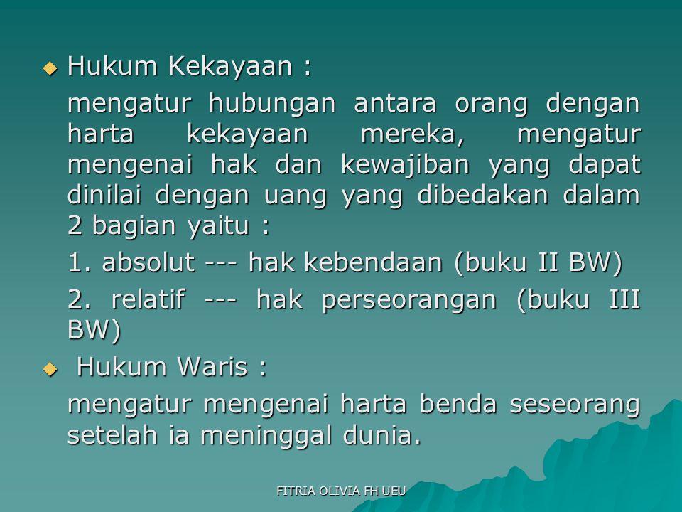 1. absolut --- hak kebendaan (buku II BW)