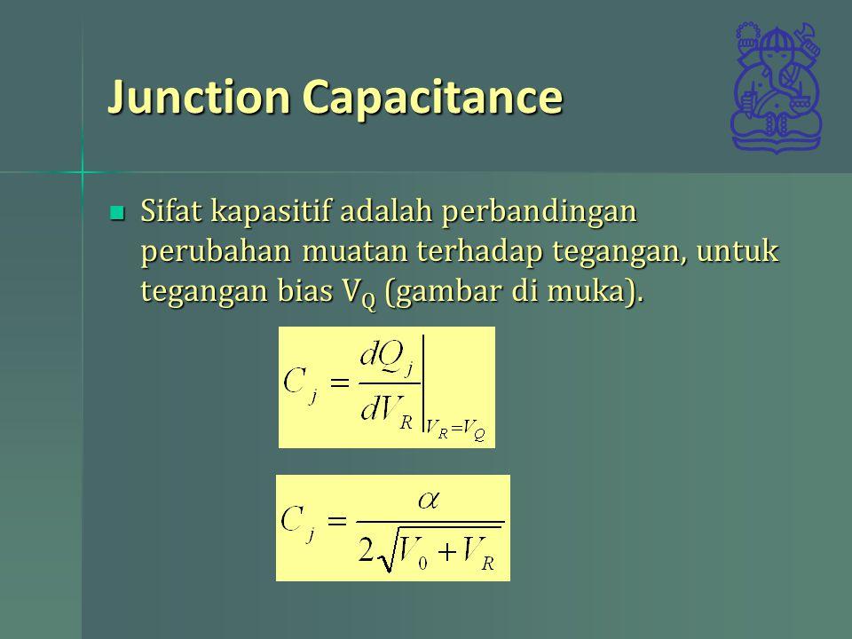 Junction Capacitance Sifat kapasitif adalah perbandingan perubahan muatan terhadap tegangan, untuk tegangan bias VQ (gambar di muka).