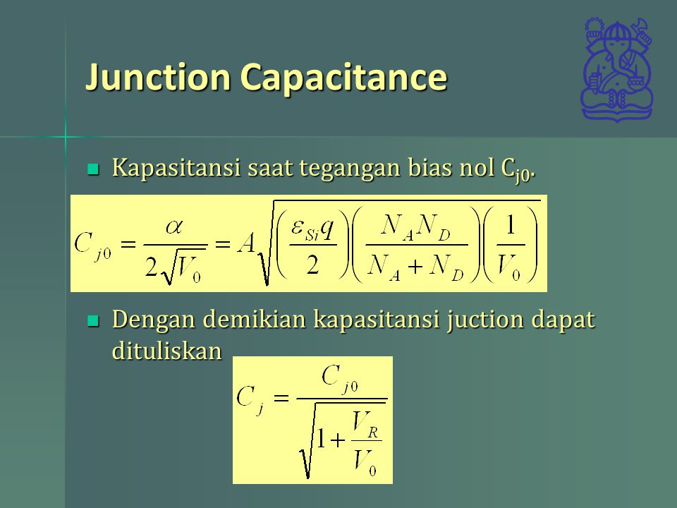 Junction Capacitance Kapasitansi saat tegangan bias nol Cj0.